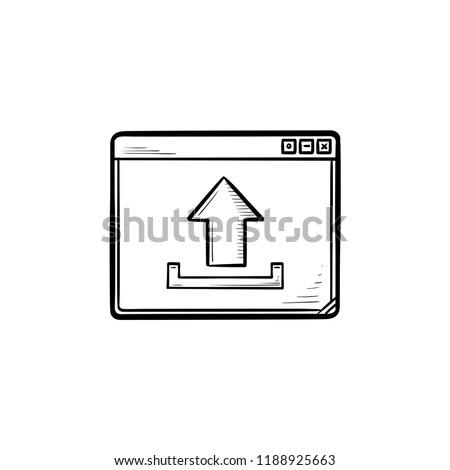 Böngésző ablak feltöltés felirat kézzel rajzolt skicc Stock fotó © RAStudio
