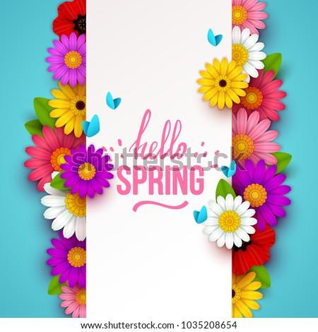 Vector primavera floral resumen dibujado a mano colorido Foto stock © user_10144511