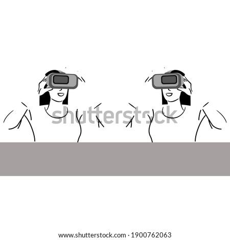 virtual reality eye and mobile phone hand drawn outline doodle icon stock photo © rastudio