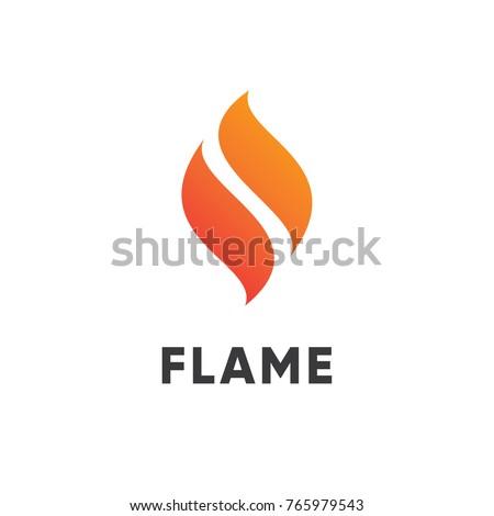 Fuego llama simple logo aislado blanco Foto stock © kyryloff