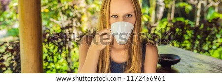 Young woman drinks coffee Luwak in the gazebo BANNER, long format Stock photo © galitskaya