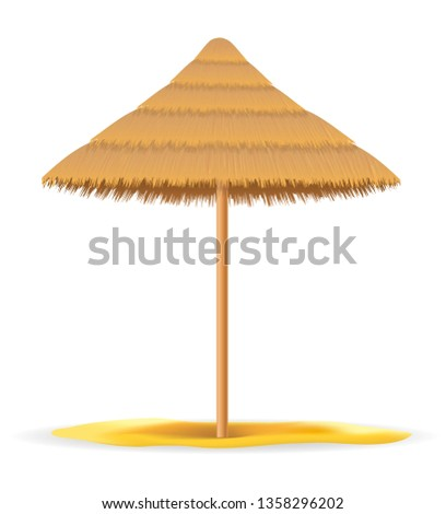 beach umbrella made of straw and reed for shade vector illustrat Stock photo © konturvid