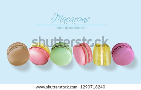 Colorful macaroons realistic Vector. Banner template layout 3d illustration. Menu dessert label prod Stock photo © frimufilms