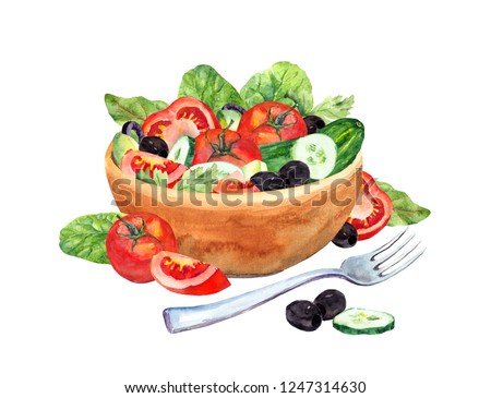 Tomato , cucumber and salad on red background. Watercolor illustration Stock photo © ConceptCafe