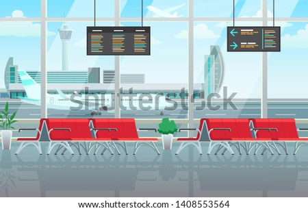 Airport lounge interior, waiting hall with red chairs, information panels Stock photo © MarySan