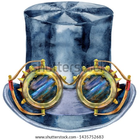 Watercolor black hat topper. Cylinder - headdress. Vintage mens dress. Stock photo © Natalia_1947