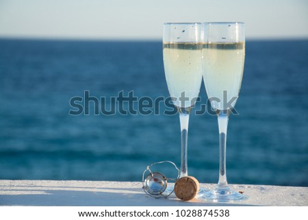 Happy Relaxing at party, Two champagne glasses and sparkle, Chri Stock photo © Freedomz