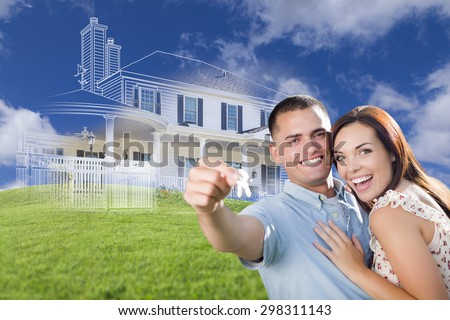 couple holding key with house home drawing in front of vignette stock photo © wavebreak_media