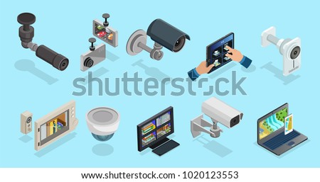 surveillance video camera home security system vector illustrati Stock photo © konturvid