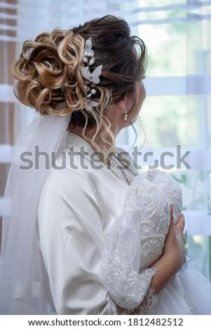 charmant · bruid · stand · venster · meisje · kamer - stockfoto © ruslanshramko