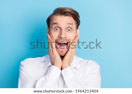 Unhappy scared or terrified businessman in depression hand holding briefcase Stock photo © ia_64