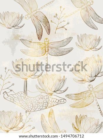 Lotus patroon vector lijn kunst gouden Stockfoto © frimufilms