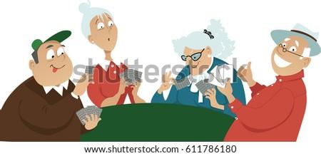 Seniors Play Card Game Illustration Stock photo © lenm