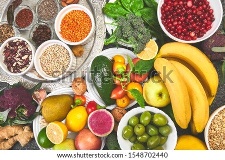 Selection of Best High Alkaline Foods. Vegan. Stock photo © Illia