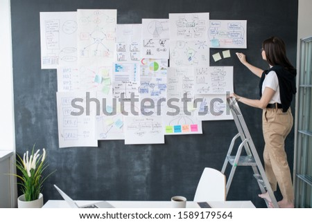 Young woman with piece of chalk standing on step ladder in front of blackboard Stock photo © pressmaster