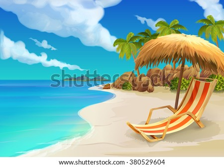 Tropical beach background as summer landscape with lounge chairs Stock photo © boggy