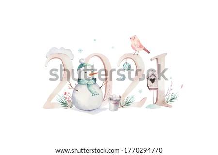 Christmas New Year red deer animal greeting card Stock photo © cienpies