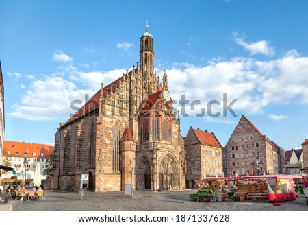Nurnberg. Church of Our Lady or Frauenkirche in Nuremberg main s Stock photo © xbrchx