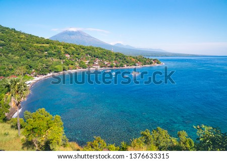 Jemeluk Bay, Amed. Amed is fast becoming a popular tourist destination in Bali, Indonesia. Set in th Stock photo © galitskaya