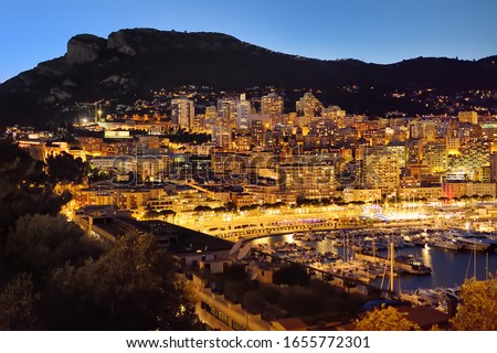 Monte Carlo yachting harbor and waterfront amazing panoramic vie Stock photo © xbrchx