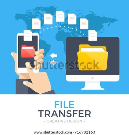 Hand holds the smartphone and sends files to cloud storage. Flat vector modern phone mock-up illustr Stock photo © karetniy