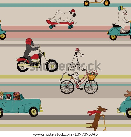 Cartoon seamless pattern with dog riding a bike. Vector texture with a happy puppy riding a bicycle. Stock photo © vasilixa