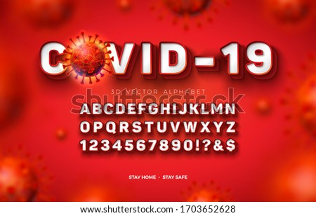 Vector 3d Alphabet Font with Frame and Shadow for Covid-19 Virus Outbreak on Red Background. Modern  Stock photo © articular