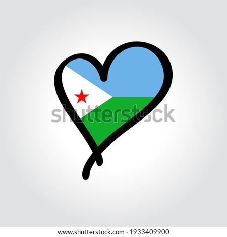 National flag of the Djibouti in the shape of a heart and the inscription I love Djibouti. Vector il Stock photo © butenkow