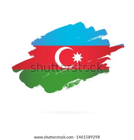 Azerbaijão bandeira mão branco assinar liberdade Foto stock © butenkow