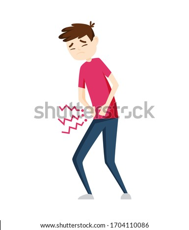 Man having stomachache symptoms of appendicitis with large, small intestine and appendix. Young man  Stock photo © designer_things