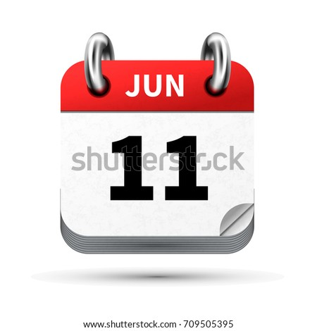 Bright realistic icon of calendar with 11 june date isolated on white Stock photo © evgeny89