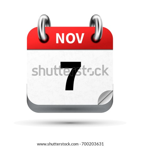 Bright realistic icon of calendar with 7 november date isolated on white Stock photo © evgeny89