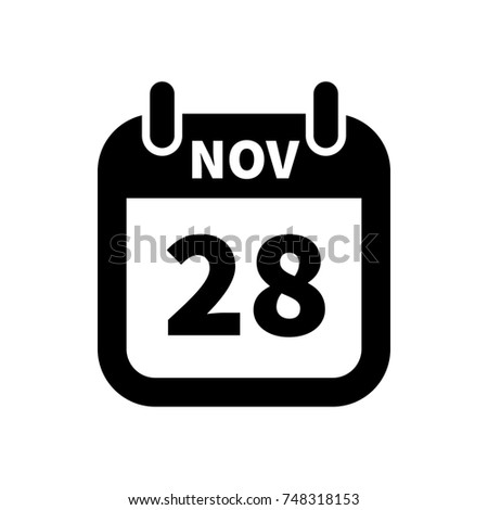 Simple black calendar icon with 28 november date isolated on white Stock photo © evgeny89