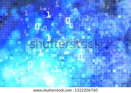 Blue matrix symbols, digital binary code on dark, vertical technology background a4 size Stock photo © evgeny89
