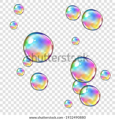 Set of realistic glossy marble balls with rainbow glare isolated on white Stock photo © evgeny89