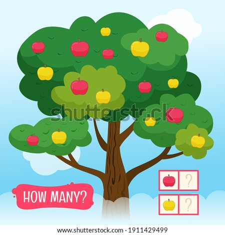 Mathematics worksheet for kids. Count and color educational children activity Stock photo © natali_brill