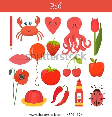 Piros tanul szín oktatás szett illusztráció Stock fotó © natali_brill