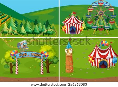 遊園地 風景 シーン 多くの 幸せ 子供 ストックフォト © bluering