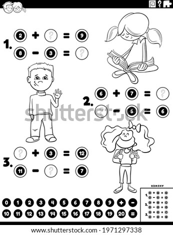 counting boys and girls educational game color book page Stock photo © izakowski