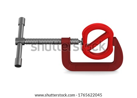 forbidden sign and clamp on white background. Isolated 3D illust Stock photo © ISerg