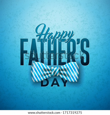 Happy Father's Day Greeting Card Design with Sriped Bow Tie, Mustache and Typography Letter on Vinta Stock photo © articular
