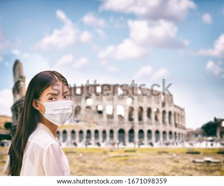Corona virus Italy travel tourist chinese woman wearing surgical mask protection for coronavirus vis Stock photo © Maridav