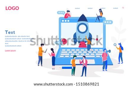Startup mensen raket presentatie zakenman vector Stockfoto © robuart