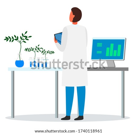 Researcher, lab assistant, engineer exploring plant breeding from tubes, computer with information Stock photo © robuart