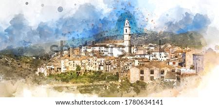 Digitális vízfesték falu Spanyolország közösség égbolt Stock fotó © amok