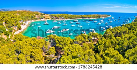 Aerial view of Palmizana, sailing cove and turquoise beach on Pa Stock photo © xbrchx