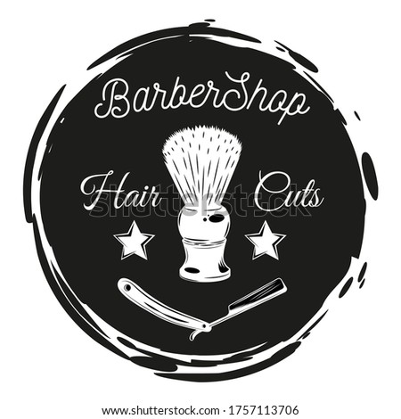 Barbershop lazor blade, shaving brush, stamp style, black and white cirle with text hair cuts Stock photo © robuart