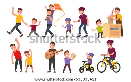 Happy children playing outdoors - flat design style illustration Stock photo © Decorwithme
