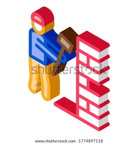 Man Destroy Wall isometric icon vector illustration Stock photo © pikepicture