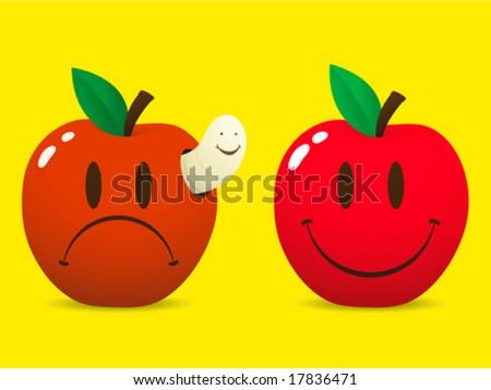maçã · verme · preto · e · branco · desenho · animado · ilustração · comida - foto stock © adrian_n